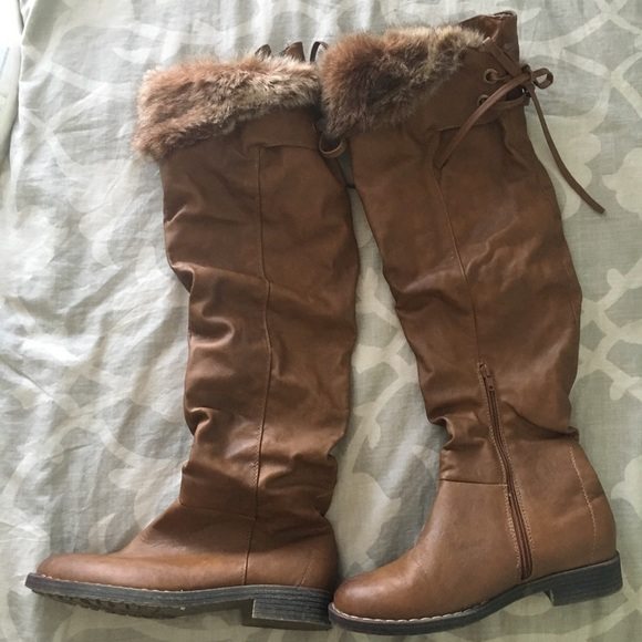 92fd5a1be27 Tan Tall Fur Leather Boots